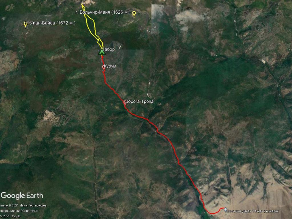 Карта маршрута на Харашибирские столбы