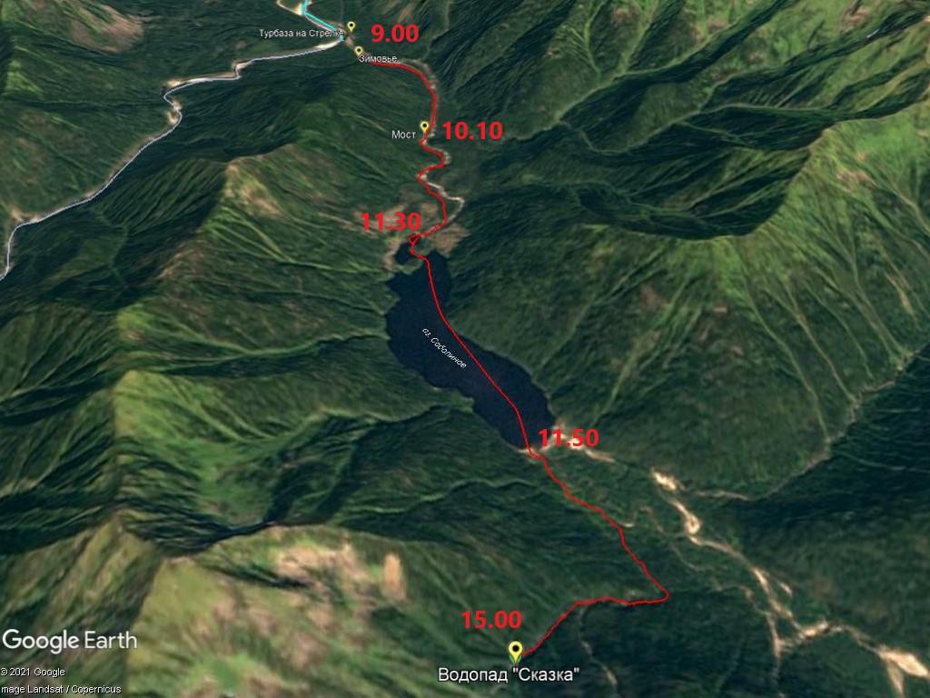 Карта маршрута на Соболиные озера с таймингом. Красный шрифт - время прибытия в эти пункты