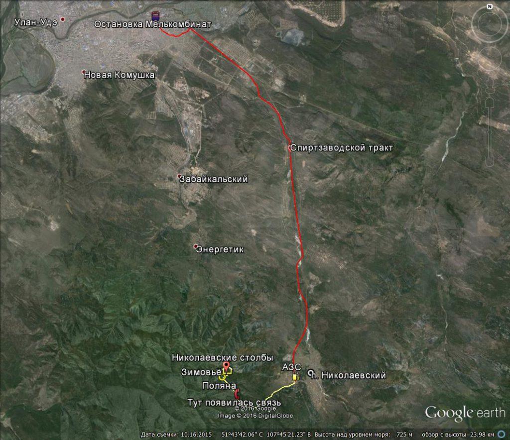 Карта маршрут Николаевские столбы