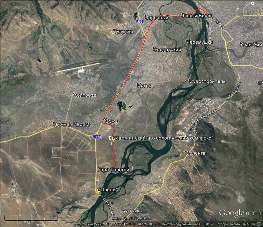 Карта маршрута Иволгинское городище