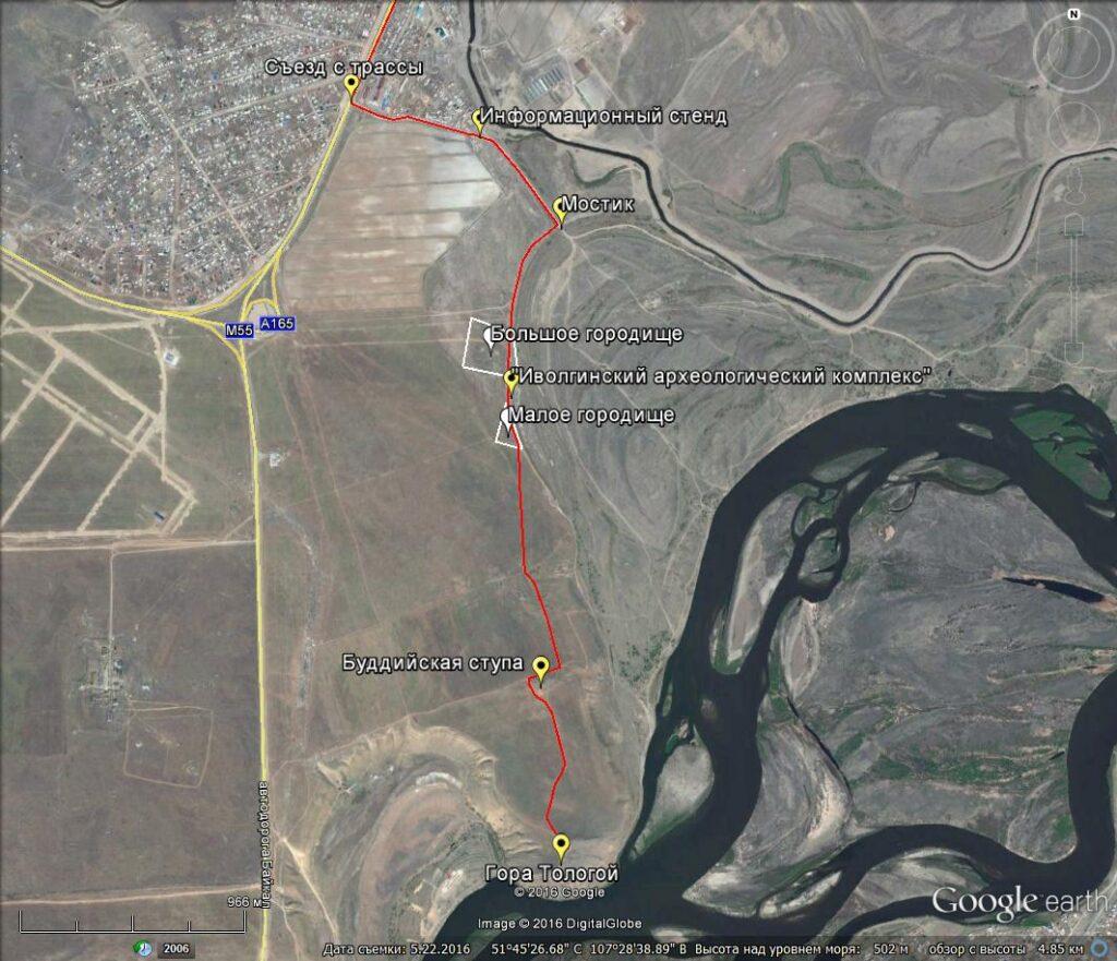 Иволгинское городище. Карта.
