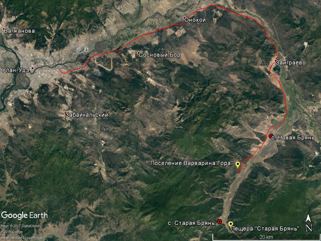 Карта маршрута Варварина гора