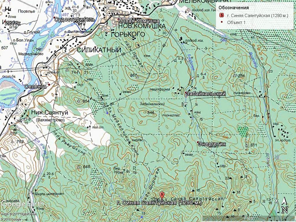 Топо карта маршрута на Синюю Саянтуйскую