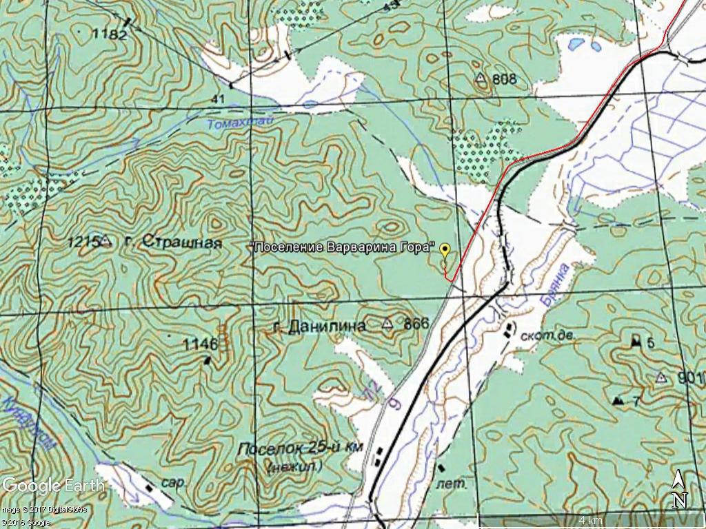 Топо карта Варвариной горы