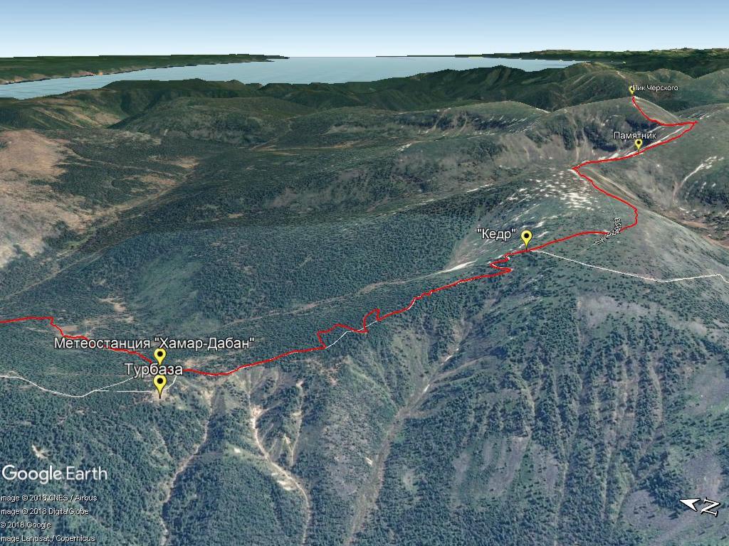 Маршрут восхождения на пик Черского от метеостанции.
