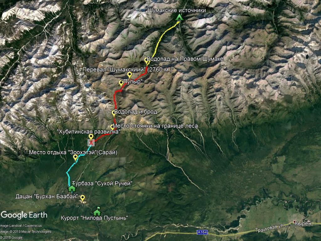 Карта маршрута на Шумакские источники